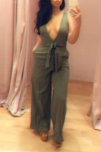 Sleeveless Deep V Wide Leg Jumpsuit