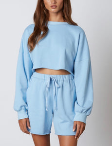 Crew Neck Drop Shoulder Crop Sweatshirt