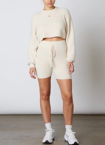 Crew Neck Long Sleeve Crop Sweater