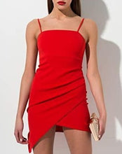 Load image into Gallery viewer, Stretch Spaghetti Strap Asymmetrical Hem Mini Dress