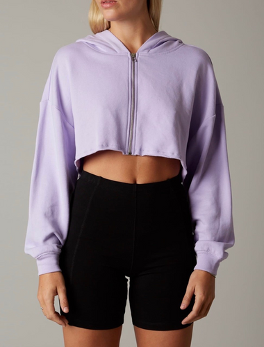 Long Sleeve Drop Shoulder Cropped Oversized Hooded Sweatshirt