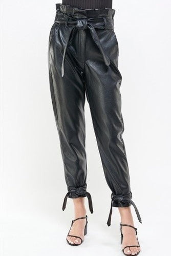 Paper Bag Tie Ankle Eco Leather Pants