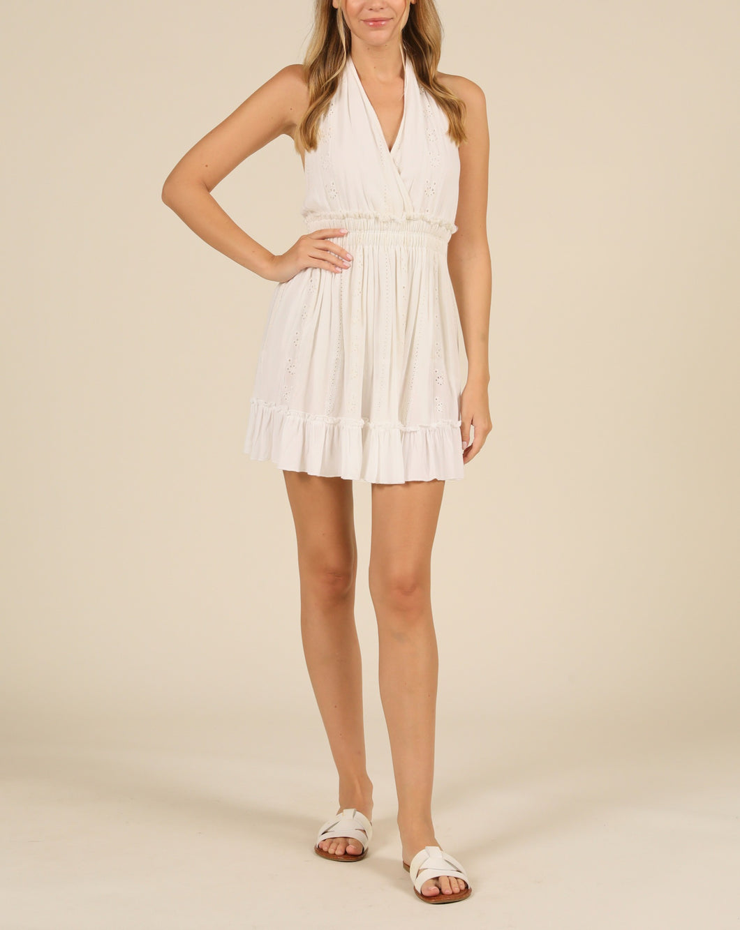 Halter A Line Linen Mini Dress