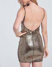 Load image into Gallery viewer, Sequin Bodycon Open Back Mini Dress