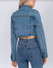 Load image into Gallery viewer, Stretch Denim Crop Jean Jacket