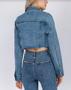 Stretch Denim Crop Jean Jacket