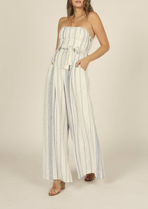 Linen Vertical Stripe Wide Leg Strapless Jumpsuit