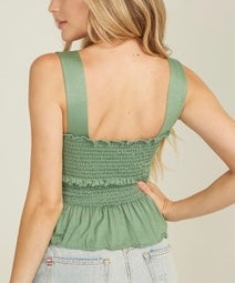 Smocked Thick Strap Crop Top