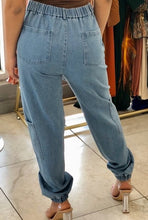 Load image into Gallery viewer, Denim Six Pocket Cargo Elastic Waist Jogger Pant