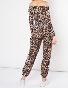 Leopard Elastic High Waisted Open Leg Joggers