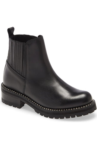 Leather Lug Sole Studded Chelsea Boot