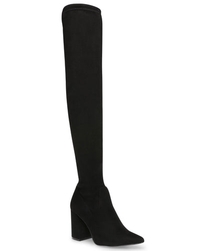 Suede Thigh High Stacked Heel Pointy Toe Boot