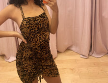 Load image into Gallery viewer, Leopard Velvet Open Back Ruched Mini Dress