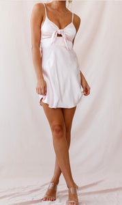 Satin Tie A Line Mini Dress