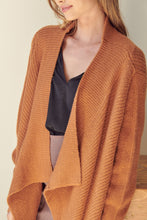 Load image into Gallery viewer, Knit Drape Front Long Sleeve Drop Shoulder Long Sweater