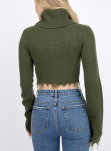 Distressed Long Sleeve Turtleneck Sweater