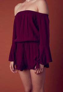 Off The Shoulder Bell Sleeve Tassel Ruffle Hem Romper
