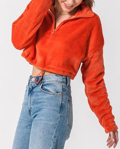 Quarter Zip Drawstring Toggle Drop Shoulder Long Sleeve Mock Neck Teddy Fleece Cropped Sweatshirt