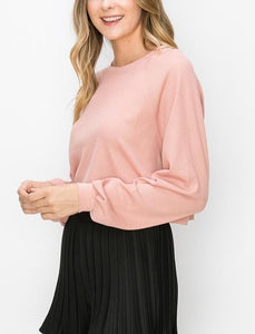 Oversized Drop Shoulder Thermal Waffle Crop Top