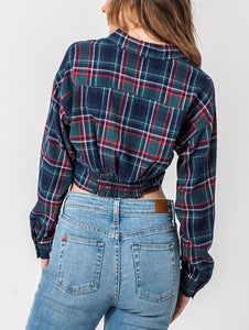 Plaid Tie Front Flannel Longsleeve Cropped Shirt