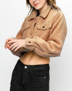 Front Pocket Button Collar Teddy Cropped Jacket