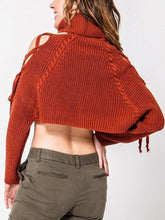 Load image into Gallery viewer, Turtleneck Open Shoulder Lace Up Cropped Cable Knit Sweater