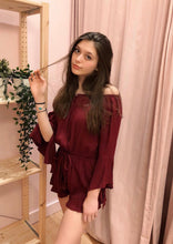 Load image into Gallery viewer, Off The Shoulder Bell Sleeve Tassel Ruffle Hem Romper