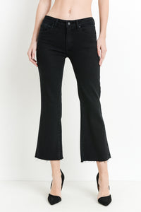 Mid Rise Raw Hem Stretch Side Flare Cropped Denim Pants