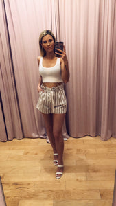 Striped High Waist Paper Bag Shorts
