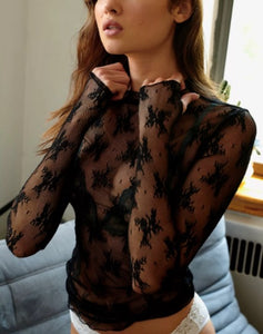 Mock Neck Mesh Sheer Floral Lace Top