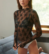 Load image into Gallery viewer, Mock Neck Mesh Sheer Floral Lace Top