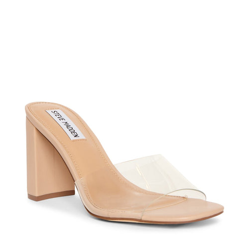 Lucite Block Leather Heel  Slide Sandal