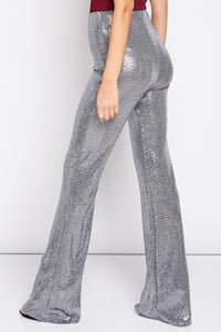Sequin Bell Bottom High Rise Pants