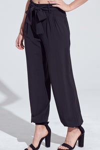 Pleat Front Self Belt 4 Pocket Jogger Style Pants