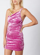 Load image into Gallery viewer, Orchid Crushed Velvet One Shoulder Open Back Mini Dress