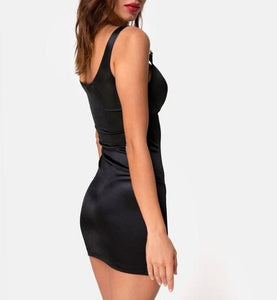 Buckle on Cut Out Stretch Shiny Mini Dress