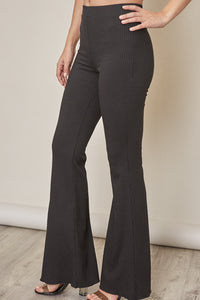 Ribbed Flare Stretch Pants