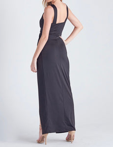Deep V Neck High Slit Maxi Dress