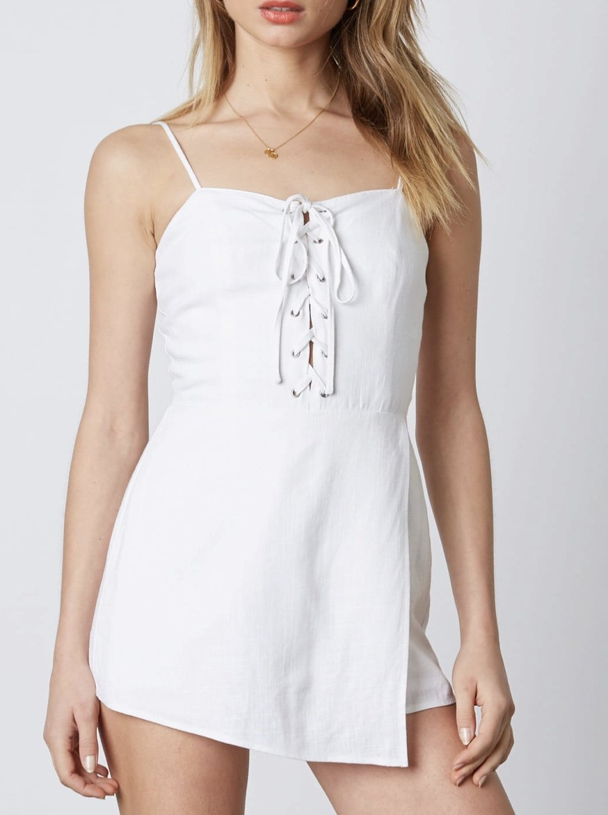 Lace Up Faux Wrap Linen Romper