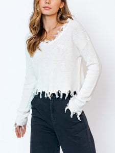 V Neck Drop Shoulder Distressed Sweater