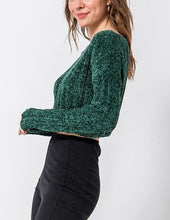 Load image into Gallery viewer, Chenille Boat Neck Drop Shoulder Ribbed Cropped Sweater