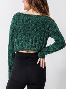 Chenille Boat Neck Drop Shoulder Ribbed Cropped Sweater