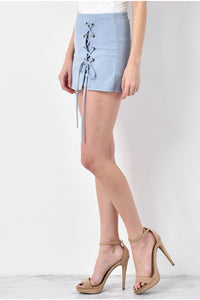 Light Skort With Front Lace Up Detail