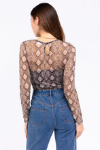 Load image into Gallery viewer, Snake Print Crew Neck Sheer Long Sleeve Thong Bodysuit