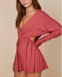 Jersey Faux Wrap Cut Out Side Long Sleeve Romper