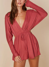 Load image into Gallery viewer, Jersey Faux Wrap Cut Out Side Long Sleeve Romper
