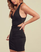Load image into Gallery viewer, Stretch V Neck Open Crisscross Back Mini Dress