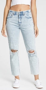 High Waist Distressed Knee Acid Wash Crop Sustainable Jeans
