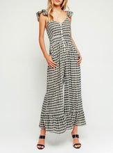 Load image into Gallery viewer, Gingham Cropped Wide Leg Button Front Ruffle Jumpsuit