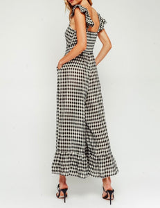 Gingham Cropped Wide Leg Button Front Ruffle Jumpsuit